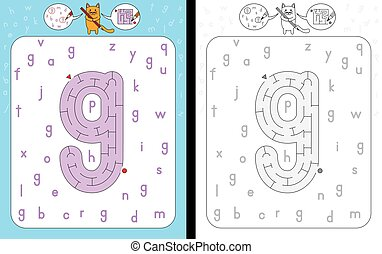 Maze letter g - Worksheet for learning alphabet -...