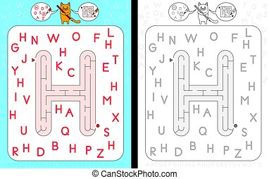Maze letter H - Worksheet for learning alphabet -...