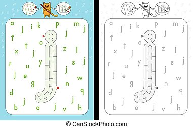 Maze letter j - Worksheet for learning alphabet -...