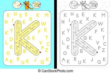 Maze letter K - Worksheet for learning alphabet -...