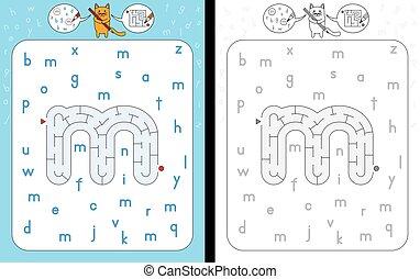 Maze letter m - Worksheet for learning alphabet -...