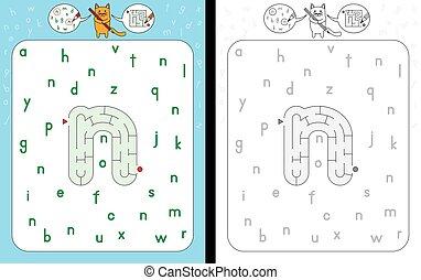 Maze letter n - Worksheet for learning alphabet -...