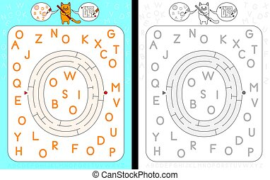Maze letter O - Worksheet for learning alphabet - ...