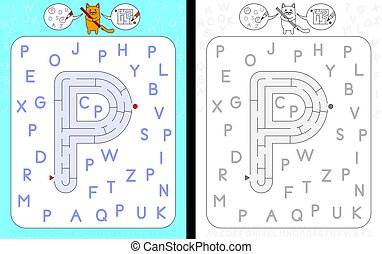 Maze letter P - Worksheet for learning alphabet -...