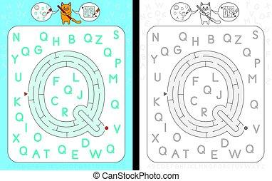 Maze letter Q - Worksheet for learning alphabet - ...