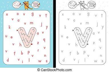 Maze letter v - Worksheet for learning alphabet -...