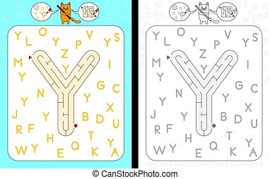 Worksheet for learning alphabet - recognizing capital letter Y - maze in the shape of capital letter Y