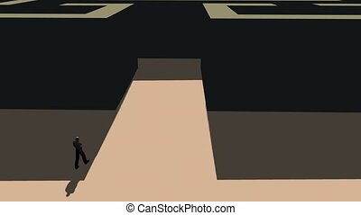 maze., marche, silhouette, homme