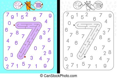 Maze number 7 - Worksheet for learning numbers - recognizing...