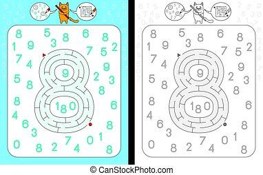 Maze number 8 - Worksheet for learning numbers - recognizing...