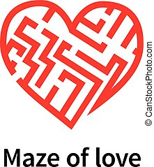 Maze of love red sign on white
