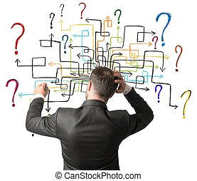 Maze of questions - Businessman trying to solve a maze...