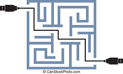 maze of usb link vector