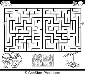 maze or labyrinth activity for coloring - Cartoon...