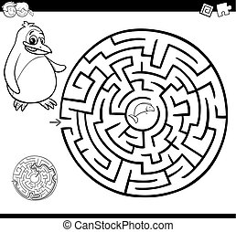 maze or labyrinth coloring page - Cartoon Illustration of...