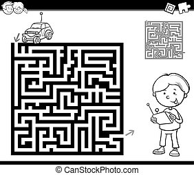 maze or labyrinth coloring page - Black and White Cartoon...