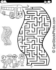 maze or labyrinth for coloring - Black and White Cartoon...