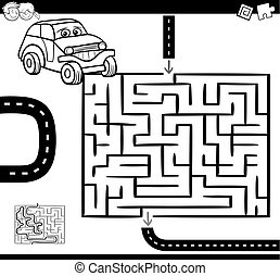 maze or labyrinth for coloring - Cartoon Illustration of...