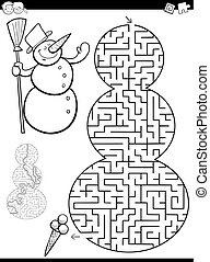 maze or labyrinth game - Cartoon Illustration of Educational...