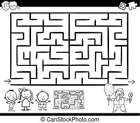 maze or labyrinth game coloring page - Cartoon Illustration...