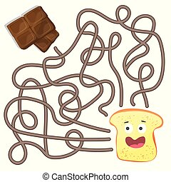 Maze or Labyrinth Game for Children. Puzzle - help toast to find right way