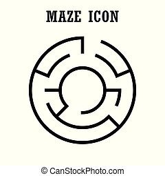 Maze or labyrinth icon,Circular shape,isolated on white background