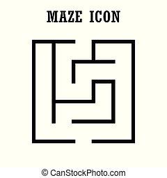 Maze or  labyrinth icon,Rectangular shape,isolated on white background