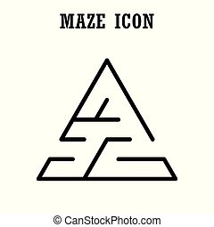 Maze or  labyrinth icon,Triangular shape,isolated on white background
