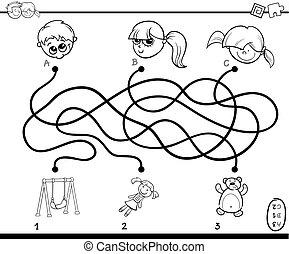 maze paths activity coloring page - Black and White Cartoon...