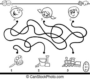 Black and White Cartoon Illustration of Education Paths or Maze Puzzle Activity with Children and Toys