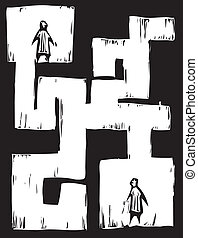 Maze People - Two people separated from each other by a...
