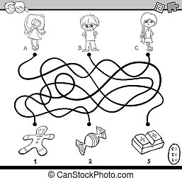maze puzzle coloring page - Black and White Cartoon...