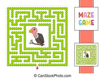 maze., puzzle, gioco, vulture., path., labirinto, vettore, divertente, enigma, illustration., children., quadrato, destra, character., colorare, trovare, grigio, answer., kids.