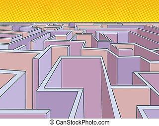 maze puzzle unknown route. Pop art retro vector illustration...