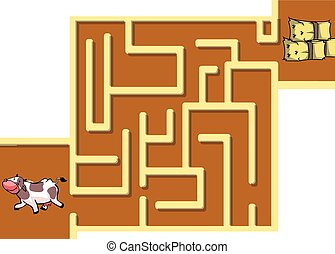 maze quiz with cow