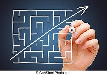 Maze Shortcut Concept Dark Blue Background