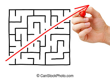 Maze Shortcut - Shortcut cutted through a maze by a red...