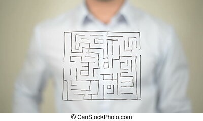 """Maze, Shortest Path to Success, Drawing on transparent screen"""