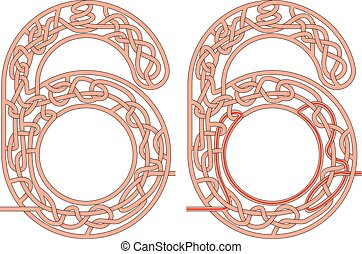Maze in the shape of number six - worksheet for learning numbers