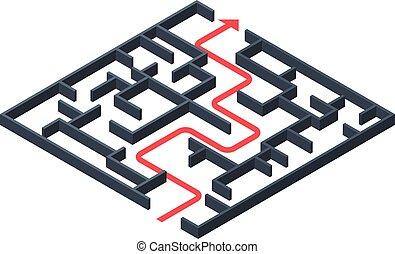 Maze solution icon, isometric style