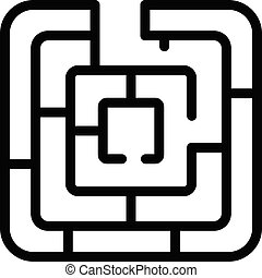 Maze solution icon, outline style