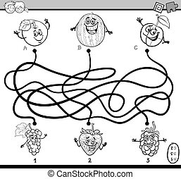 maze task coloring book - Black and White Cartoon ...