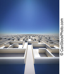 Maze to Infinity - High Resolution 3d art showing a maze as...