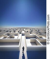 Maze to Infinity - High Resolution 3d art showing a maze as...