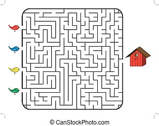 Maze game for children. Find the correct way for bird to...