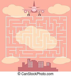 Maze with airplane - game for children - vector