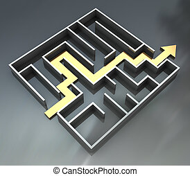 maze with arrow route - abstract 3d illustration of maze...