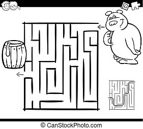 maze with bear coloring page - Black and White Cartoon...