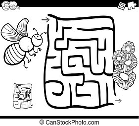 maze with bee coloring page - Black and White Cartoon...
