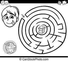 maze with boy and cake for coloring - Black and White...